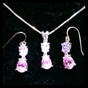 Sterling silver necklace earrings set